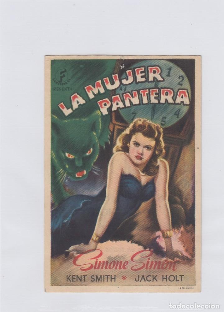 LA MUJER PANTERA. PROGRAMA DE CINE. SENCILLO CON PUBLICIDAD. CINEMA GOYA. ZARAGOZA. (Cine - Folletos de Mano - Terror)