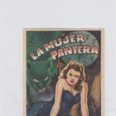 Folhetos de mão de filmes antigos de cinema: LA MUJER PANTERA. PROGRAMA DE CINE. SENCILLO CON PUBLICIDAD. CINEMA GOYA. ZARAGOZA.. Lote 212671161