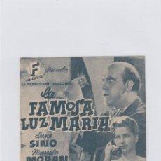 Cine: LA FAMOSA LUZ MARIA. PROGRAMA DE CINE. DOBLE CON PUBLICIDAD. CINE GADES. CÁDIZ.. Lote 212680596