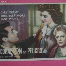 Foglietti di film di film antichi di cinema: FOLLETO DE MANO PROGRAMA DE CINE UN CORAZON EN PELIGRO CON PUBLICIDAD LOTE 76. Lote 212757600
