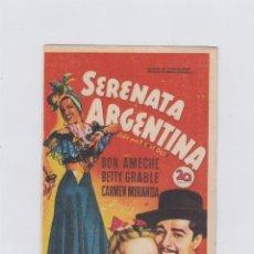 Cine: SERENATA ARGENTINA. PROGRAMA DE CINE. SENCILLO SIN PUBLICIDAD.. Lote 212868038