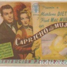 Folhetos de mão de filmes antigos de cinema: PROGRAMA DE CINE: CAPRICHO DE MUJER. SIN PUBLICIDAD PC-4819. Lote 213068927