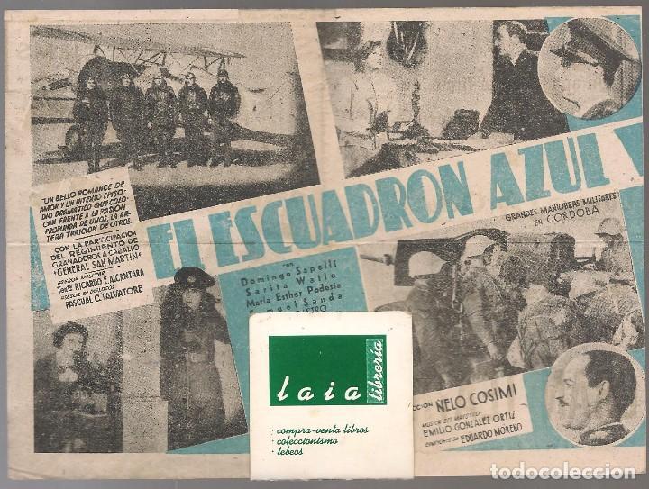 Cine: EL ESCUADRON AZUL (GUERRA CIVIL ), cine GRAN TEATRO, VALENCIA,años 40, 14x 25 cm, DOBLE, - Foto 2 - 29391091