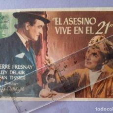 Flyers Publicitaires de films Anciens: FOLLETO DE MANO - EL ASESINO VIVE EN EL 21 - SALON ROMEA - CASTELLON - AÑO 1948. Lote 213160808