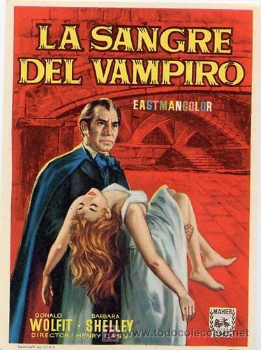 LA SANGRE DEL VAMPIRO PROGRAMA SENCILLO MAHIER BARBARA SHELLEY DONALD WOLFIT (Cine - Folletos de Mano - Terror)