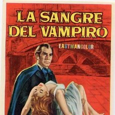 Cine: LA SANGRE DEL VAMPIRO PROGRAMA SENCILLO MAHIER BARBARA SHELLEY DONALD WOLFIT. Lote 213438070