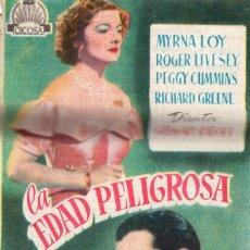 Cine: LA EDAD PELIGROSA -PROGRAMA- ORIGINAL 1952 -PUBLICIDAD EN REVERSO- 2 IMAGENES. Lote 213456083