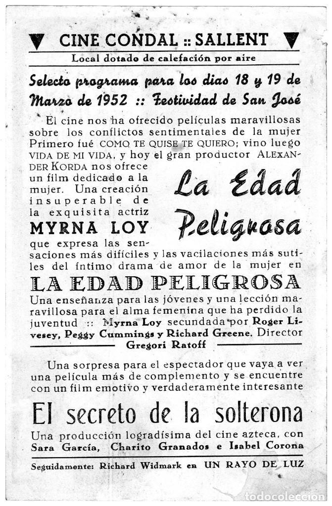 Cine: LA EDAD PELIGROSA -Programa- ORIGINAL 1952 -PUBLICIDAD EN REVERSO- 2 IMAGENES - Foto 2 - 213456083