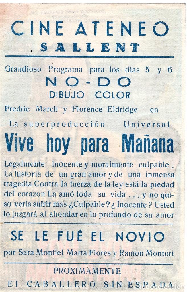 Cine: VIVE HOY PARA MAÑANA -Programa- ORIGINAL -PUBLICIDAD EN REVERSO- 2 IMAGENES - Foto 2 - 213456302