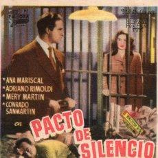 Cine: PACTO DE SILENCIO -PROGRAMA- ORIGINAL -PUBLICIDAD EN REVERSO- 2 IMAGENES. Lote 213457431