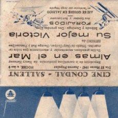 Cine: SU MEJOR VICTORIA -PROGRAMA DOBLE- ORIGINAL1947 -PUBLICIDAD EN REVERSO- 2 IMAGENES. Lote 213460687
