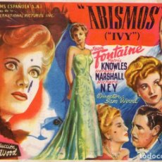 Cine: ABISMOS -PROGRAMA- ORIGINAL 1948 -PUBLICIDAD EN REVERSO- 2 IMAGENES. Lote 213461940