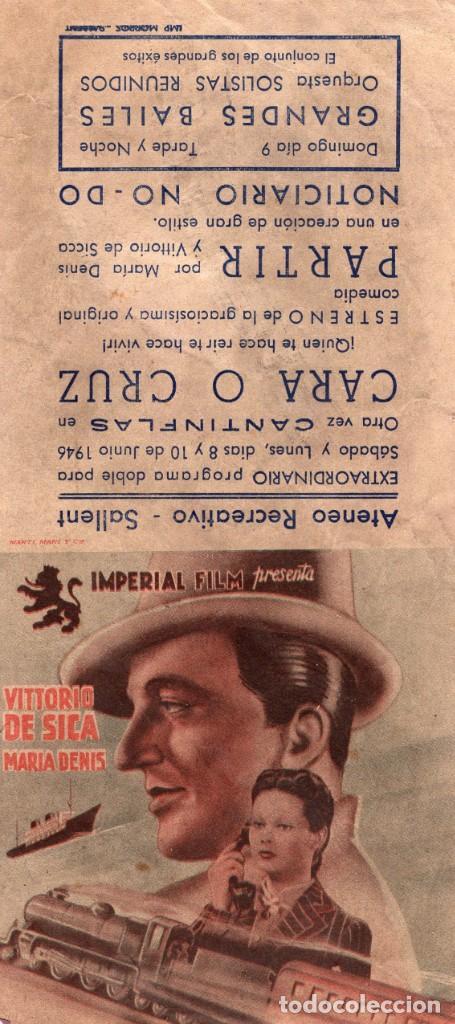 PARTIR -PROGRAMA- ORIGINAL 1946 -PUBLICIDAD EN REVERSO- 2 IMAGENES (Cine - Folletos de Mano - Drama)
