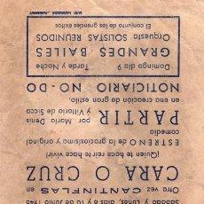 Cine: PARTIR -PROGRAMA- ORIGINAL 1946 -PUBLICIDAD EN REVERSO- 2 IMAGENES. Lote 213463151