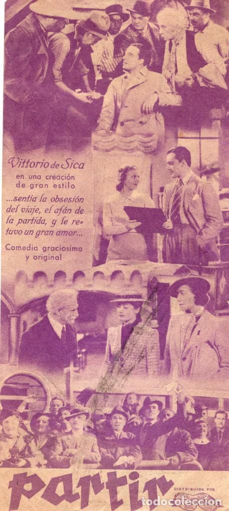 Cine: PARTIR -Programa- ORIGINAL 1946 -PUBLICIDAD EN REVERSO- 2 IMAGENES - Foto 2 - 213463151