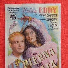 Cine: PIERNA DE PLATA, SENCILLO ORIGINAL, NELSON EDDY, SIN PUBLICIDAD. Lote 213493636