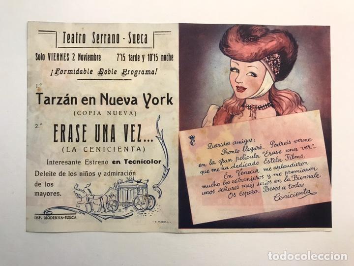 Cine: CINE, SUECA Valencia. Teatro Serrano Folleto de Mano, ÉRASE UNA VEZ. La Cenicienta (h.1945?) - Foto 2 - 213521222