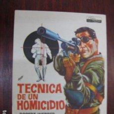 Cine: TECNICA PARA UN HOMICIDIO - FOLLETO MANO ORIGINAL - ROBERT WEBBER JEANNE VALERIE FRANCO NERO IMPRESO. Lote 213570380