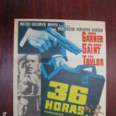 Cine: 36 HORAS - FOLLETO MANO ORIGINAL - JAMES GARDNER EVA MARIE SAINT ROD TAYLOR RELOJ IMPRESO. Lote 213574262