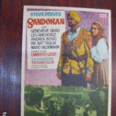 Cine: SANDOKAN - FOLLETO MANO ORIGINAL - STEVE REEVES GENEVIEVE GRAD UMBERTO LENZI IMPRESO. Lote 213574941
