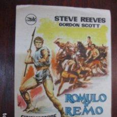 Cine: ROMULO Y REMO - FOLLETO MANO ORIGINAL - STEVE REEVES GORDON SCOTT VIRNA LISI MASSIMO GIROTTI IMPRESO. Lote 213575161