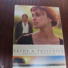 Cine: PRIDE & PERJUDICE - FOLLETO MANO INVITACION PREESTRENO - ORGULLO Y PERJUICIO KEIRA KNIGHTLEY. Lote 213652211