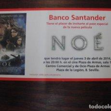 Cine: NOE - FOLLETO MANO INVITACION PREESTRENO - RUSSELL CROWE - PUBLICIDAD BANCO SANTANDER. Lote 213652306