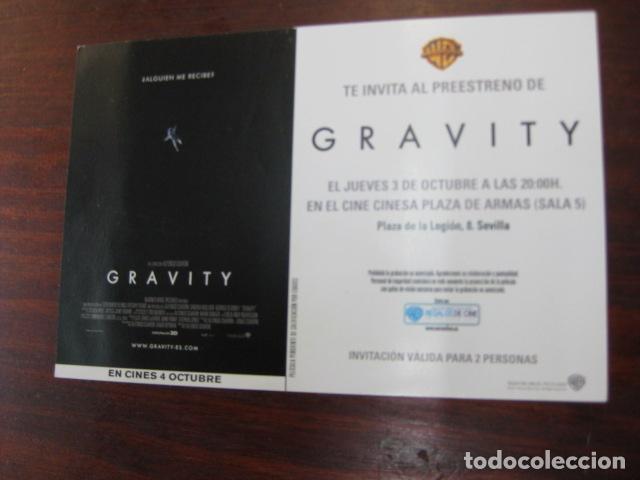 GRAVITY - FOLLETO MANO INVITACION PREESTRENO - SANDRA BULLOCK GEORGE CLOONEY ED HARRIS (Cine - Folletos de Mano - Acción)
