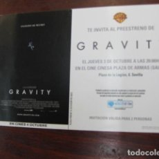 Cine: GRAVITY - FOLLETO MANO INVITACION PREESTRENO - SANDRA BULLOCK GEORGE CLOONEY ED HARRIS. Lote 213652453