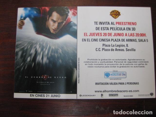 SUPERMAN EL HOMBRE DE ACERO - FOLLETO MANO INVITACION PREESTRENO - HENRY CAVILL AMY ADAMS (Cine - Folletos de Mano - Acción)