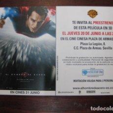 Cine: SUPERMAN EL HOMBRE DE ACERO - FOLLETO MANO INVITACION PREESTRENO - HENRY CAVILL AMY ADAMS. Lote 213652738