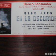 Cine: STAR TREK EN LA OSCURIDAD - FOLLETO MANO INVITACION PREESTRENO - PUBLICIDAD BANCO SANTANDER. Lote 213653070