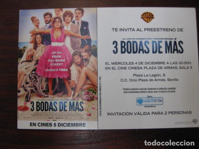 3 BODAS DE MAS - FOLLETO MANO INVITACION PREESTRENO - INMA CUESTA MARTIÑO RIVAS PACO LEON (Cine - Folletos de Mano - Comedia)