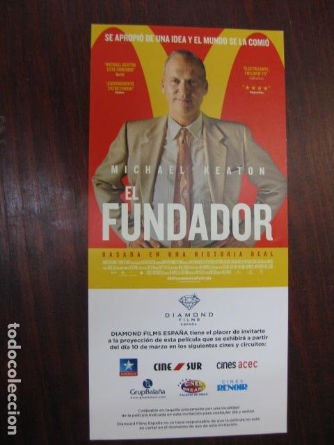 EL FUNDADOR - FOLLETO MANO INVITACION PREESTRENO - MICHAEL KEATON - MCDONALD'S FOOD (Cine - Folletos de Mano - Drama)