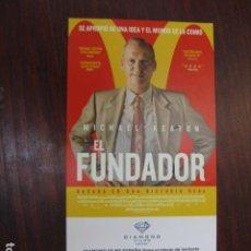 Cine: EL FUNDADOR - FOLLETO MANO INVITACION PREESTRENO - MICHAEL KEATON - MCDONALD'S FOOD. Lote 213653590