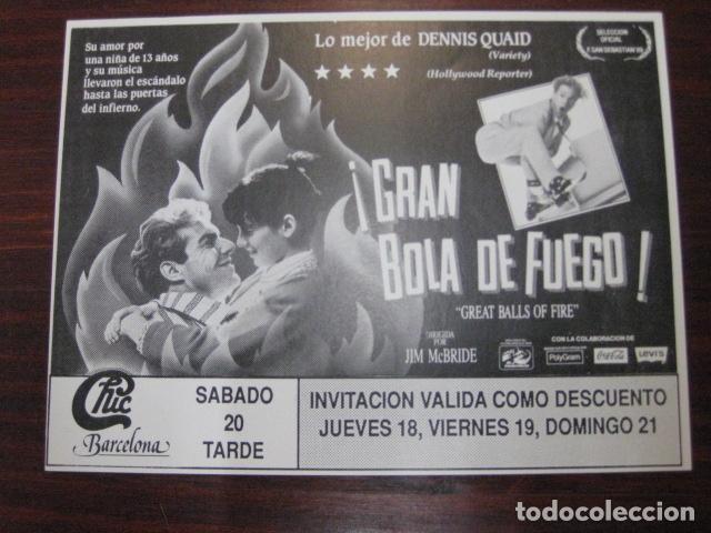 GRAN BOLA DE FUEGO - FOLLETO MANO ORIGINAL INVITACION FIESTA DISCOTECA CHIC BARCELONA (Cine - Folletos de Mano - Musicales)