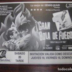Cine: GRAN BOLA DE FUEGO - FOLLETO MANO ORIGINAL INVITACION FIESTA DISCOTECA CHIC BARCELONA. Lote 213657606