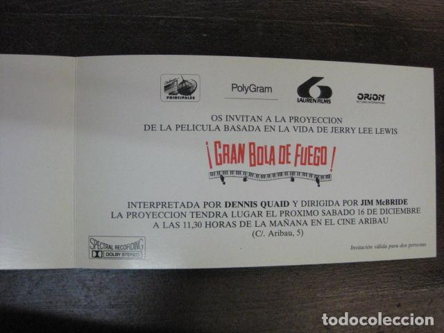 GRAN BOLA DE FUEGO - FOLLETO MANO ORIGINAL INVITACION PREESTRENO CINE ARIBAU LAUREN FILMS (Cine - Folletos de Mano - Musicales)