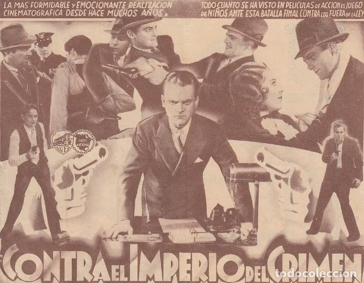 Cine: Contra el imperio del crimen. Folleto de mano. Doble con publicidad. Cine Municipal. Cádiz. - Foto 2 - 213895266