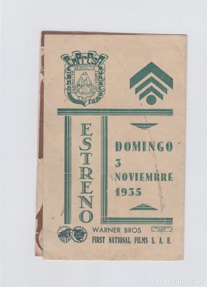 Cine: Contra el imperio del crimen. Folleto de mano. Doble con publicidad. Cine Municipal. Cádiz. - Foto 3 - 213895266