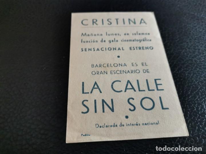 Cine: PROGRAMA DE MANO ORIG - LA CALLE SIN SOL - CINE CRISTINA - Foto 2 - 213960710