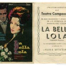 Cine: LA BELLA LOLA, CON SARA MONTIEL.. Lote 214210093