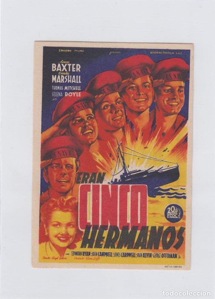 ERAN CINCO HERMANOS. PROGRAMA DE CINE. SENCILLO CON PUBLICIDAD.CINE AVENIDA. VILLANUEVA DE LA SERENA (Cine - Folletos de Mano - Bélicas)