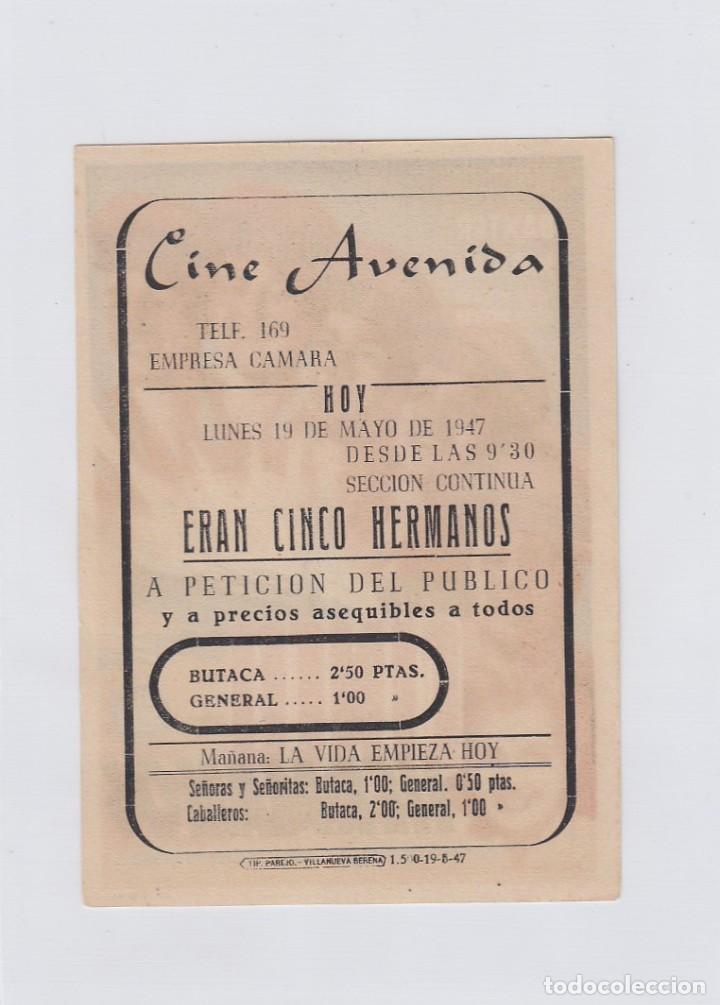 Cine: Eran cinco hermanos. Programa de cine. Sencillo con publicidad.Cine Avenida. Villanueva de la Serena - Foto 2 - 214255285