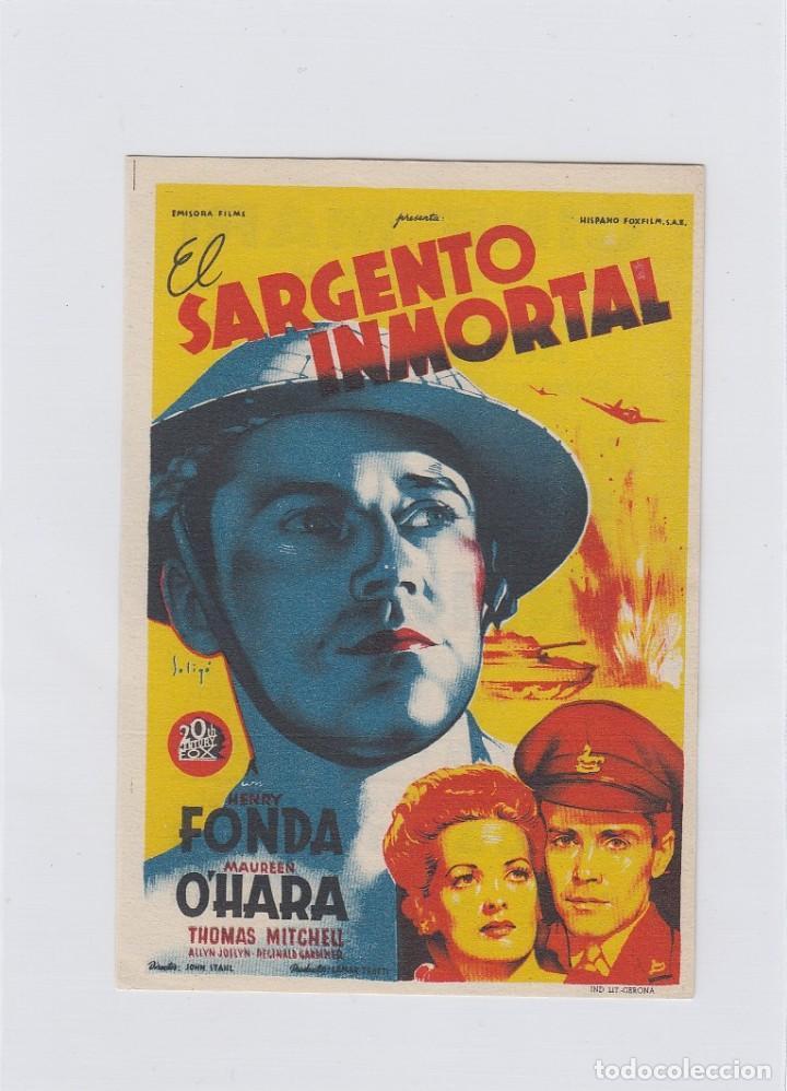 EL SARGENTO INMORTAL. PROGRAMA DE CINE. SENCILLO CON PUBLICIDAD. CINE MARI. LEÓN. (Cine - Folletos de Mano - Bélicas)