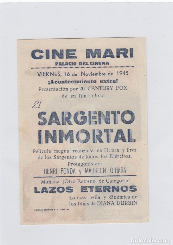Cine: El sargento inmortal. Programa de cine. Sencillo con publicidad. Cine Mari. León. - Foto 2 - 214255477