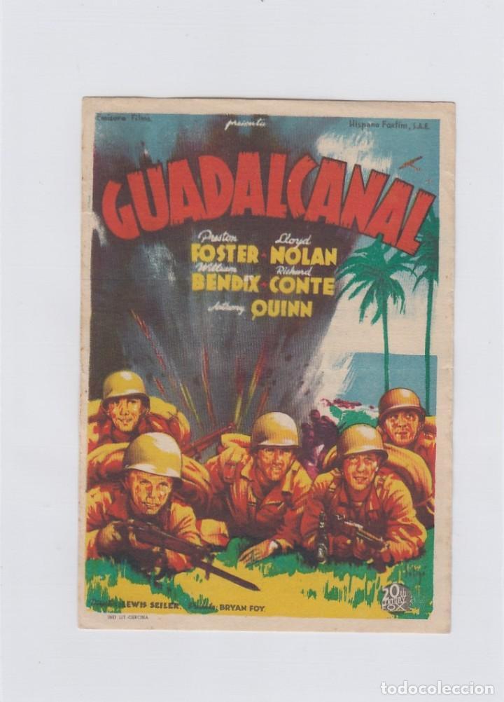 GUALDALCANAL. PROGRAMA DE CINE. SENCILLO CON PUBLICIDAD. CINEMA LA RAMBLA- CINEMA TEATRO PRINCIPAL. (Cine - Folletos de Mano - Bélicas)