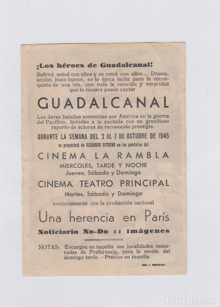 Cine: Gualdalcanal. Programa de cine. Sencillo con publicidad. Cinema La rambla- Cinema Teatro Principal. - Foto 2 - 214255867
