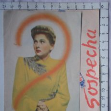 Cine: PROGRAMA CINE DOBLE: SOSPECHA - CINE DORADO AÑO 1942. Lote 214294160