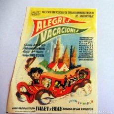 Foglietti di film di film antichi di cinema: PROGRAMA DE CINE - ALEGRES VACACIONES - CINE ALKAZAR. Lote 214355971